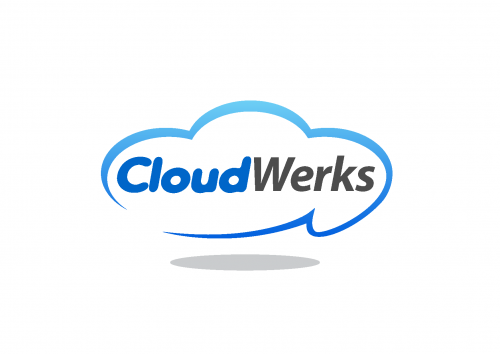 text inside cloud outline logo