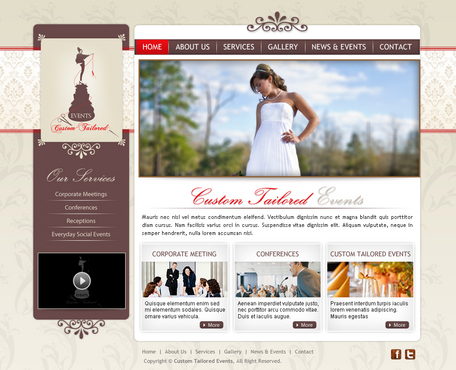 Custom Tailored Events Website Web Design  Draft # 112 by Cr8tiveMedia