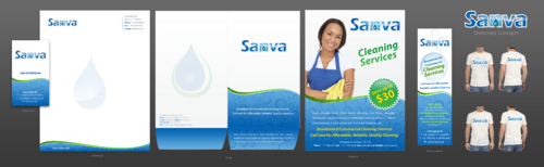 Letterheads, business cards, brochure, banner.