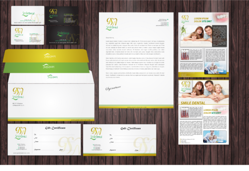 Letterhead paper, Envelopes, Business Cards, Patient brochures, Flyer,Gift Certificate, T-Shirts