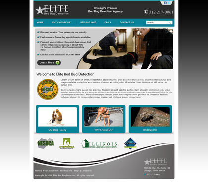 We need a website developed for our bed bug sniffing dog services