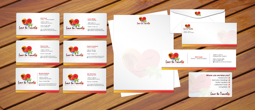 Business card, envelopes and letterhead layout