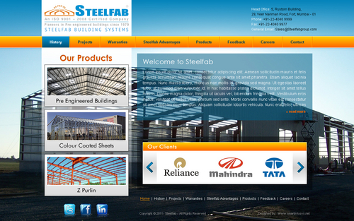 Home Page design for Steelfab Building Systems