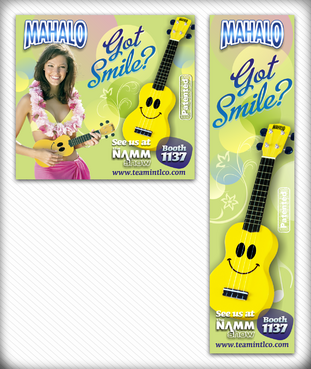 Smiley face ukulele magazine ad