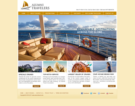 Home page for alumni travel website