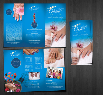 Tri Fold Brochure of Salon menu & services
