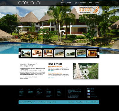 Web page for a diving resort