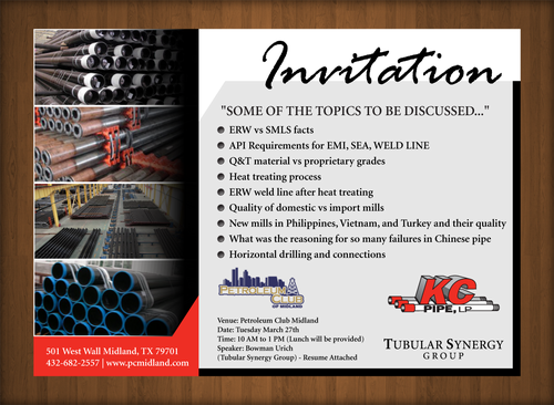 KC PIPE, LP LUNCH AND LEARN Marketing collateral  Draft # 4 by XtremeCreative2