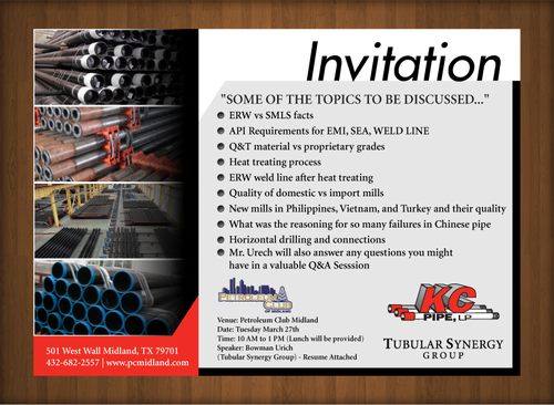 KC PIPE, LP LUNCH AND LEARN Marketing collateral  Draft # 8 by XtremeCreative2