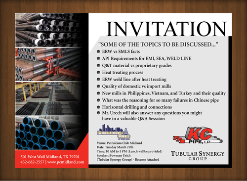 KC PIPE, LP LUNCH AND LEARN Marketing collateral  Draft # 9 by XtremeCreative2