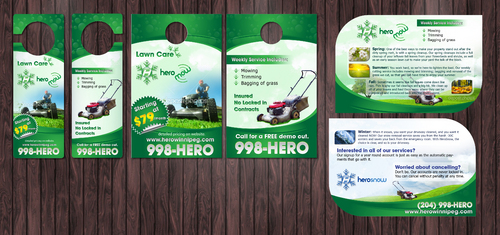 Door Hangers, die cut postcard for year round property care company. Marketing collateral  Draft # 3 by Achiver