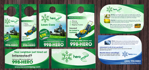 Door Hangers, die cut postcard for year round property care company. Marketing collateral  Draft # 5 by Achiver