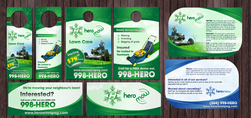 Door Hangers, die cut postcard for year round property care company. Marketing collateral  Draft # 6 by Achiver