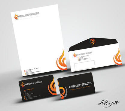 Business card and stationary for Grillin' Spaces