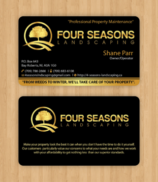 Four Seasons Landscaping Business Cards and Stationery  Draft # 107 by waterdropdesign