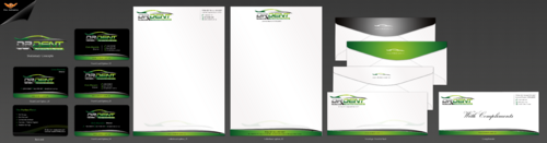 Business card, letterhead, with compliments slip design