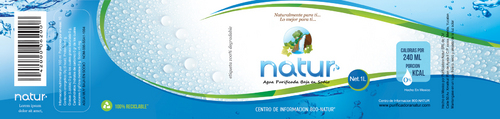 Label for water company in Southern Mexico