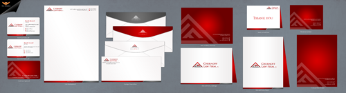 Letterhead, envelopes, business cards, thank you card, and credit card