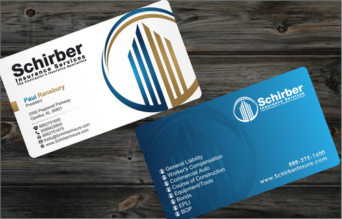 "Schirber Insurance Services ""The Contractor's Insurance Specialists"" Business Cards and Stationery  Draft # 8 by cArnn"