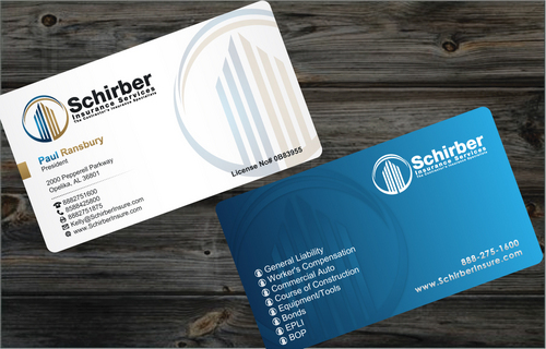 "Schirber Insurance Services ""The Contractor's Insurance Specialists"" Business Cards and Stationery  Draft # 13 by cArnn"