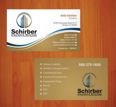 "Schirber Insurance Services ""The Contractor's Insurance Specialists"" Business Cards and Stationery  Draft # 106 by smartinfo"