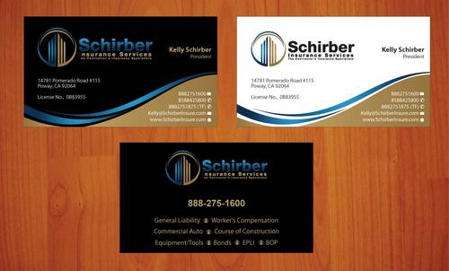 "Schirber Insurance Services ""The Contractor's Insurance Specialists"" Business Cards and Stationery  Draft # 105 by smartinfo"