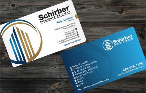 "Schirber Insurance Services ""The Contractor's Insurance Specialists"" Business Cards and Stationery  Draft # 166 by cArnn"