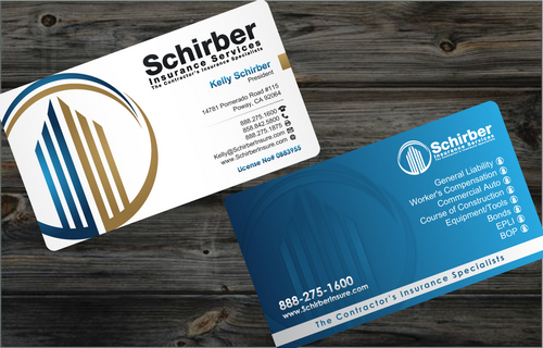 "Schirber Insurance Services ""The Contractor's Insurance Specialists"" Business Cards and Stationery  Draft # 169 by cArnn"