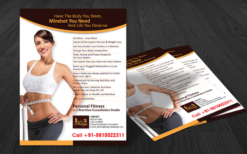 1 Page Flyer for Fitness & Nutrition Consultant Marketing collateral  Draft # 2 by vectogravic
