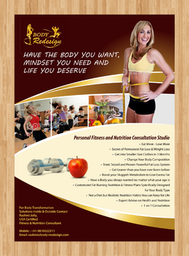 1 Page Flyer for Fitness & Nutrition Consultant Marketing collateral  Draft # 11 by XtremeCreative2