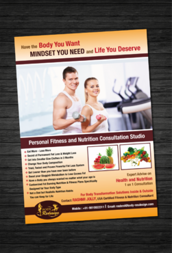 1 Page Flyer for Fitness & Nutrition Consultant Marketing collateral  Draft # 35 by dotscoms