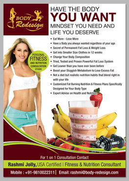 1 Page Flyer for Fitness & Nutrition Consultant Marketing collateral  Draft # 57 by destudio