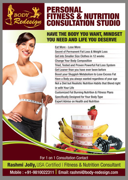 1 Page Flyer for Fitness & Nutrition Consultant Marketing collateral  Draft # 76 by destudio