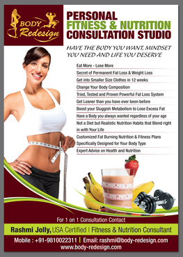 1 Page Flyer for Fitness & Nutrition Consultant Marketing collateral  Draft # 85 by destudio