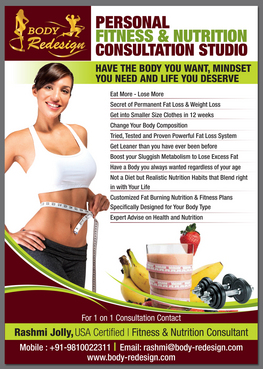 1 Page Flyer for Fitness & Nutrition Consultant Marketing collateral  Draft # 89 by destudio