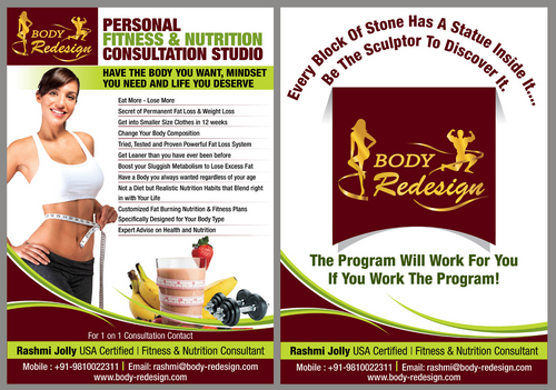 1 Page Flyer for Fitness & Nutrition Consultant Marketing collateral  Draft # 95 by destudio