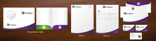Biz card, letterhead, presentation folder, email signature