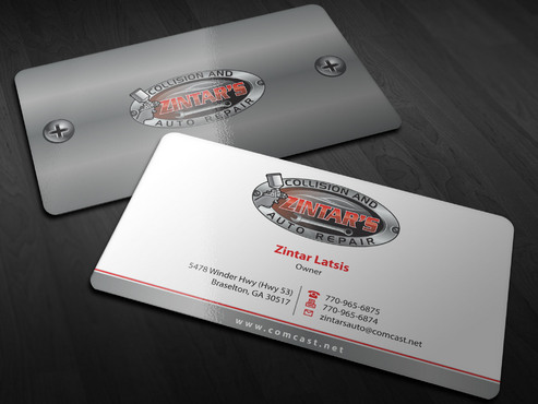 Zintar's Collision and Auto Repair Business Cards and Stationery  Draft # 2 by Xpert