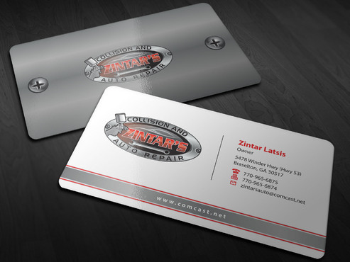 Zintar's Collision and Auto Repair Business Cards and Stationery  Draft # 3 by Xpert