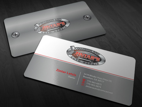 Zintar's Collision and Auto Repair Business Cards and Stationery  Draft # 4 by Xpert