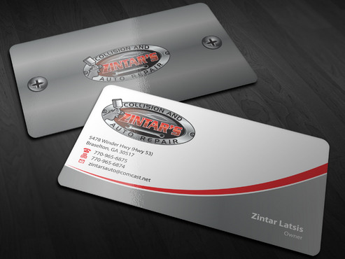 Zintar's Collision and Auto Repair Business Cards and Stationery  Draft # 6 by Xpert