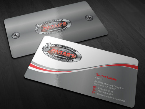 Zintar's Collision and Auto Repair Business Cards and Stationery  Draft # 7 by Xpert