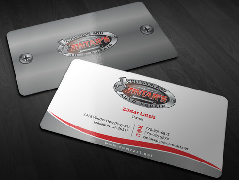 Zintar's Collision and Auto Repair Business Cards and Stationery  Draft # 8 by Xpert