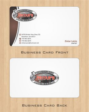 Zintar's Collision and Auto Repair Business Cards and Stationery  Draft # 64 by Deck86