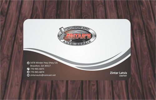 Zintar's Collision and Auto Repair Business Cards and Stationery  Draft # 76 by Deck86