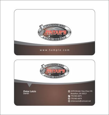Zintar's Collision and Auto Repair Business Cards and Stationery  Draft # 78 by Deck86