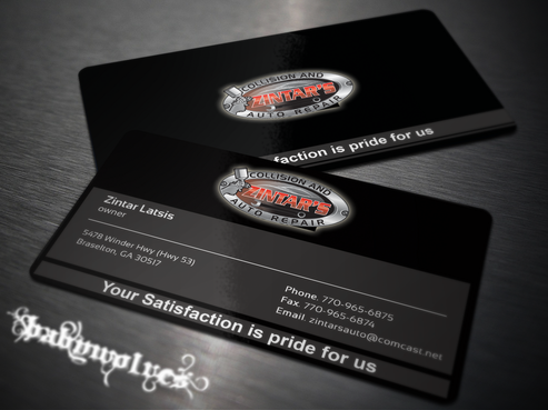 Zintar's Collision and Auto Repair Business Cards and Stationery  Draft # 134 by babywolves