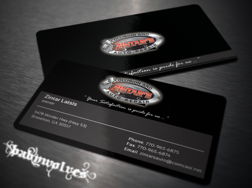 Zintar's Collision and Auto Repair Business Cards and Stationery  Draft # 135 by babywolves