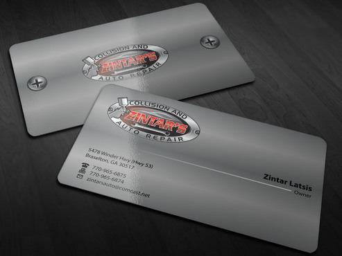 Zintar's Collision and Auto Repair Business Cards and Stationery  Draft # 145 by Xpert
