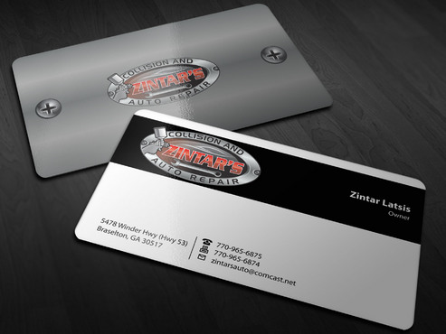 Zintar's Collision and Auto Repair Business Cards and Stationery  Draft # 149 by Xpert